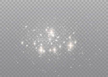 The dust sparks and golden stars shine with special light. Vector sparkles on a transparent background. Christmas light effect. Sparkling magical dust particles interior stock vector.