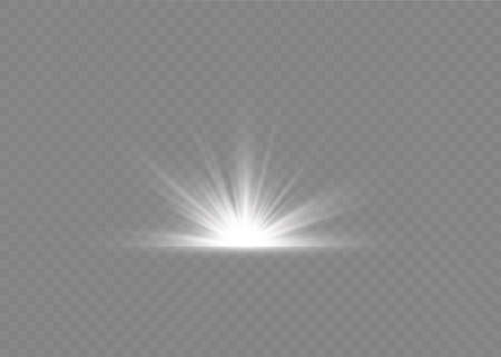 Light flare special effect with rays of light and magic sparkles. Glow transparent vector light effect set, explosion, glitter, spark,white , sun flash. Иллюстрация