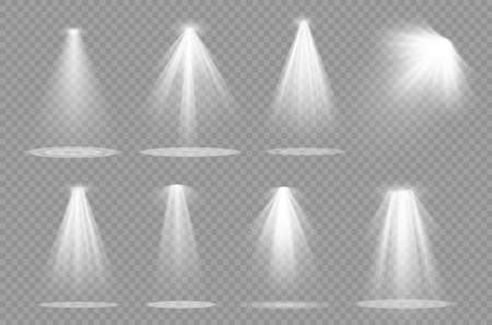 Vector spotlight. Light effect.Glow isolated white transparent light effect. Abstract special effect element design. Иллюстрация