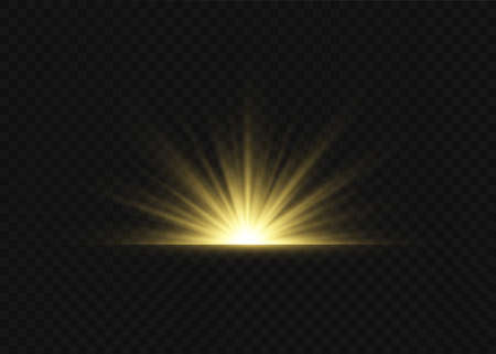 Light highlight yellow special effect with rays of light and magic sparkles. Sun Ray. Glow transparent vector light effect set, explosion, shine, spark, solar flare. Иллюстрация