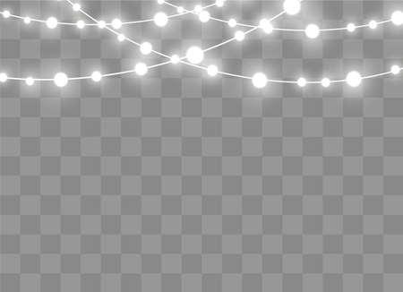 Christmas lights isolated on transparent background. Xmas glowing garland. Vector illustration Çizim