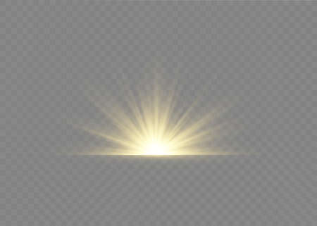 Light highlight yellow special effect with rays of light and magic sparkles. Sun Ray. Glow transparent vector light effect set, explosion, shine, spark, solar flare. Çizim
