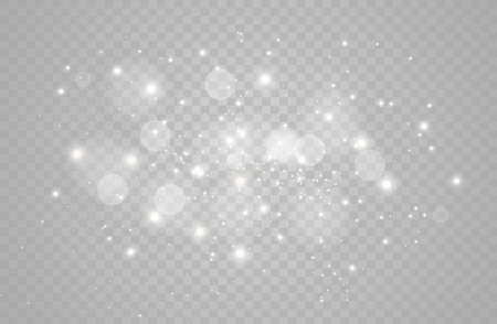 The white dust sparks and golden stars shine with special light. Vector sparkles on a transparent background.  Sparkling magical dust particles. Çizim
