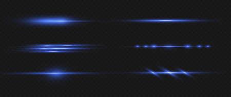 Blue horizontal lens flares pack. Laser beams, horizontal light rays.Beautiful light flares. Glowing streaks on dark background. Luminous abstract sparkling lined background. Çizim