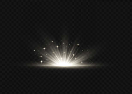 Light flare special effect with rays of light and magic sparkles. Glow transparent  light effect set, explosion, glitter, spark,white, sun flash.