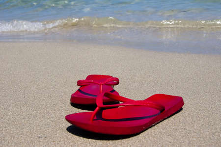 Sandals on the beach. photo