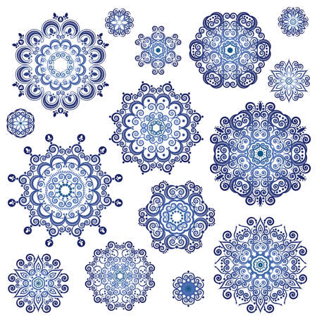 Vector fishnet snowflakes Illustration