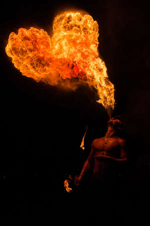 The fire show. During the perfomace