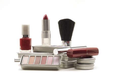 白い背景の上化粧品の種類 写真素材