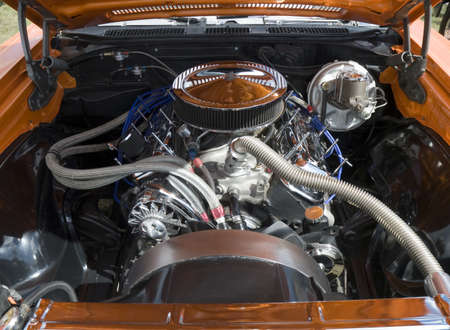 Close up of a 60s muscle car engine