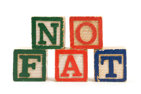 childhood obesity: Childrens wooden blocks spelling No Fat