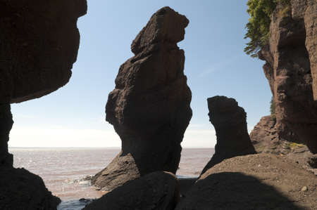 Rock formations on the Bay of Fundy shoreline at Hopewell Rocks, New Brunswick