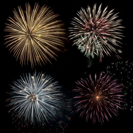Composite image using multiple images of a fireworks display on Canada Day celebration