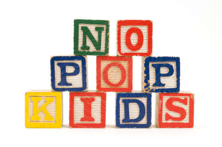 childhood obesity: Childrens wooden blocks spelling  No Pop Kids