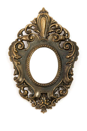 Small antique brass frame isolated on white background