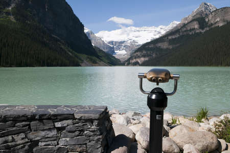 Tourist pay per view at Lake Louise in Alberta Canada Stock Photo