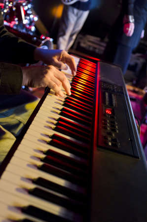 Selective focus on the hands on the keyboard at a blues festival Stock Photo - 18355985
