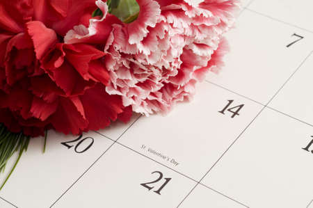 almanac: Bouquet of Carnations on Valentines Day calender