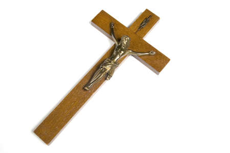 catholicism: Wooden cross on white background