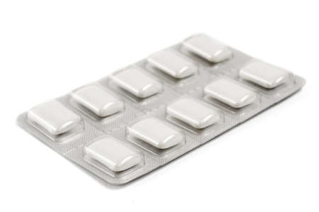 Selective focus on the foreground corner of a package of nicotine gum