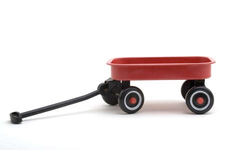 Toy red wagon on a white background