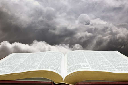 Horizontal image of Bible and creation sky Stock Photo