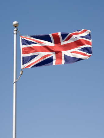 Union Jack in the breeze. Imagens