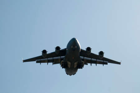 Large transport plane about to land. photo