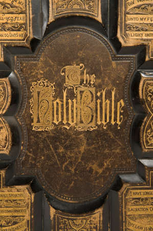 songbook: Closeup of the cover text on an antique bible Stock Photo