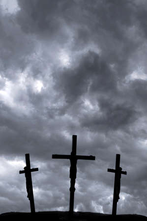 christian crosses: Crucifixion of Jesus on the cross with storm clouds