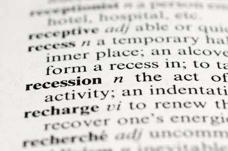 Selective focus on the word Recession taken from the dictionary Stock Photo