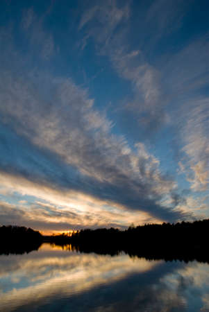 Vertical wide angle shot of sunset on the northern lake. photo