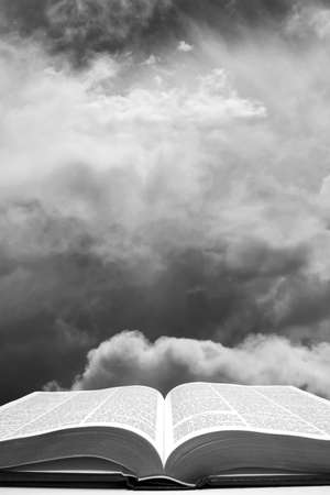 Open bible with the In the Beginning Sky - black and white