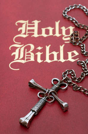 Selective focus on the center of a unique nail cross resting on a red leather bible.  photo
