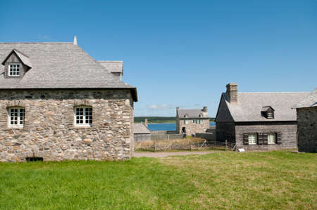 18th century reconstruction of buildings on the historic Louisbourg fortress in Nova Scotia