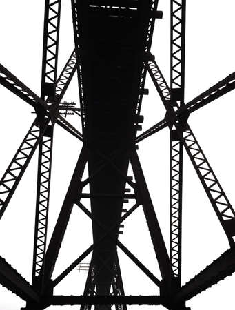Abstract steel framing of a bridge built in the early 1900