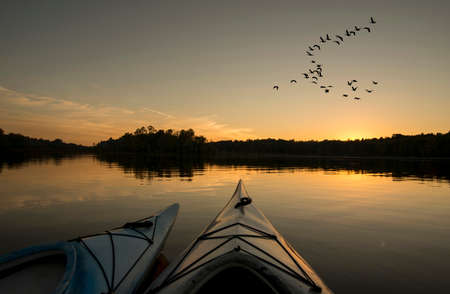 Two kayaks on the lake with geese looking to land at sunset