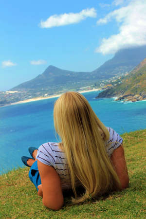 Tourist - Blond Woman relaxing in South Africa