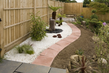 Start of garden landscaping project in english garden . Stock Photo