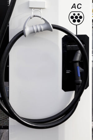 electric current: AC alternating current electric vehicle charging point, motorway services, UK