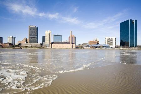 Toledo skyline from across Maumee river, Ohio Stock Photo