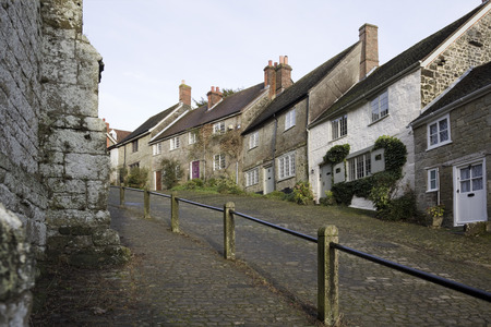 shaftesbury: Classic English cobbled street, Shaftesbury Gold Hill Stock Photo