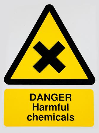 harmful: Warning sign - Danger Harmful Chemicals Stock Photo