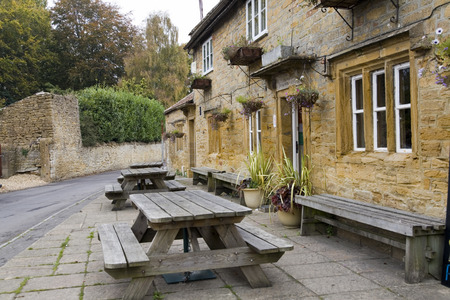 public house: Bench seating outside typical English public house (pub)