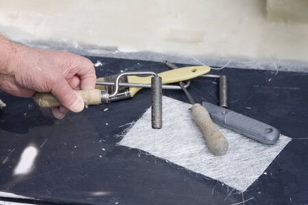 hand lay: Glass fibre moulding tools for hand lay using glass cloth and resin Stock Photo