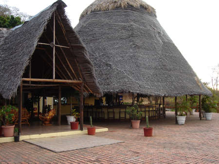 Thatched roof bar Stok Fotoğraf