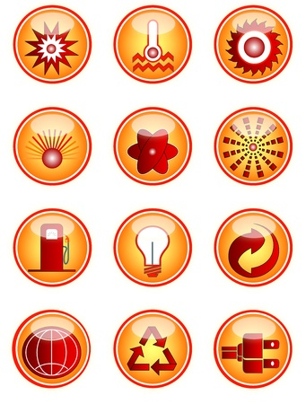 nuclear fusion: Energy Icons Illustration