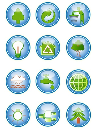 recycle symbol: A collection of environmental icons and design elements