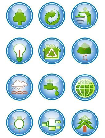 conservacion del agua: Una colecci�n de iconos de medio ambientales y elementos de dise�o