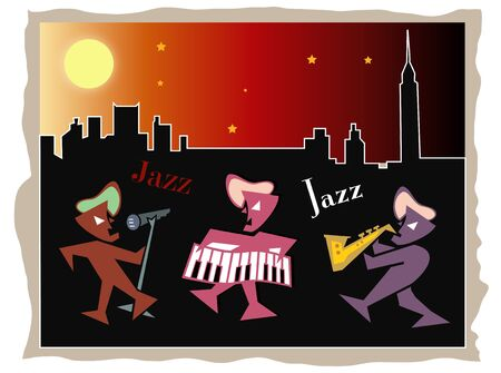 Jazz band in New York at night Vector